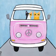 'Pink Love Bus Cats' by Ryan Conners Crazy Cat Lady, Crazy Cats, Combi Hippie, Image Chat, Volkswagen, Cat Cards, Dog Signs, Pink Love, Cute Wallpapers