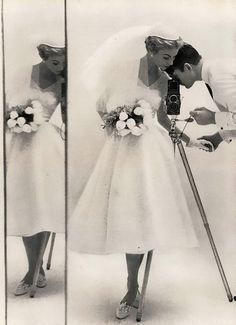 Bridal fashion from a Glamour editorial, April 1954.