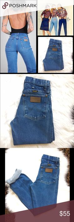 Wrangler vίɴtαgє High-Waist Slim Blue Jeans ✦ Gorgeous, 70's Women's Wrangler Denim Blue Jeans ✦ Super Sexy Fit & Perfect Blue Hue Wash ✦Tag size: 27 x 32 ✨Approx Measurements✨ ✦Waist: 12 in (23-24) ✦Rise: 10 ✦Hip: 16 ✦Thigh: 9 ✦Leg Opening: 7 ✦Inseam: 31 (cute rolled up/cuffed) ✦100% Cotton ✦No flaws Just Beautiful Vintage Condition ❌Bundle to save 20% ❌ Reasonable offers encouraged❤️ Wrangler Jeans