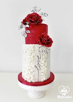 Wedding in red - cake by MOLI Cakes Wedding Cakes With Cupcakes, White Wedding Cakes, Elegant Wedding Cakes, Elegant Cakes, Beautiful Wedding Cakes, Gorgeous Cakes, Pretty Cakes, Cute Cakes, Amazing Cakes