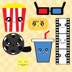 Dibujo de: cinta de cine, palomitas, jugo, ticket, proyector, estrella.