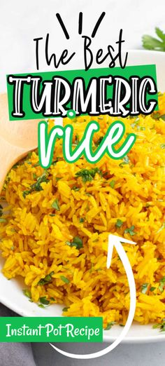 Instant Pot Turmeric Rice Recipe is a quick and easy Turmeric Rice recipe that is perfect for serving with any of your favorite Indian dishes. With only a few ingredients and the instant pot this Turm Tumeric Rice Recipe, Turmeric Recipes, Turmeric Drink, Turmeric Smoothie, Indian Food Recipes, Vegetarian Recipes, Cooking Recipes, Healthy Recipes, Ethnic Recipes