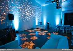 Planning a winter wedding? CKE can have just about any custom GOBO made for you.  Source: http://rentmywedding.com/Rent-Gobos.html