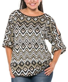 This Black & Tan Tribal Cutout Top - Plus is perfect! #zulilyfinds