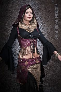 The Aphrodite Tapestry Tribal Fusion Underbust Vest/Harness w/DETACHABLE Hood $98