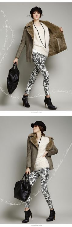 Female fur collar coat jacket Slim splicing large yards thick padded winter jacket-4227 $62 (size S M L XL)
