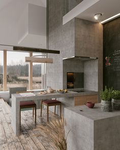 Cool Concrete Kitchen Design Inspiration Pictures - Home Decor İdeas Minimalism Interior, Modern Houses Interior, Home, Interior Architecture, Modern House Design, Modern House, Interior Design Kitchen, Decor Interior Design, Modern Interior Design
