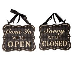 REVERSIBLE OPEN & CLOSED SHOP SIGN, RETRO VINTAGE PLAQUE, WOODEN SHABBY CHIC Available from http://stores.ebay.co.uk/Dolly-Daydream-Boutique https://www.facebook.com/maisonroyale.co.uk