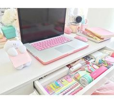 Furniture: Incredible Chic Pink Desk Organizers Cute Desk Organizers Pertaining To Cute Desk Supplies Decorating from cute desk supplies intended for House My Room, Girl Room, Girls Bedroom, Bedrooms, Bedroom Desk, Study Room Decor, Kawaii Bedroom, Desk Inspiration, Inspiration Quotes