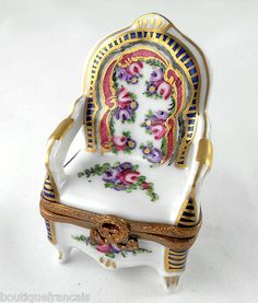 Limoges Box Sevres Floral Armchair Chair Furniture Roses