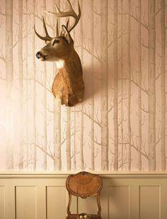 Papel troncos rosa y plata   telas & papel