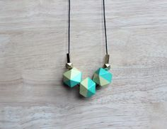 wooden geometic necklace // hemlock turquoise dipped necklace for girls, women - everyday jewelry, pastel colored necklace on Etsy, $23.84