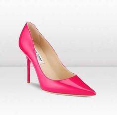 5681f12de7ed Jimmy Choo Abel Patent Leather Heels Fuchsia Cinderella Slipper