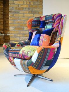 Squint is a british design company which produces luxury, bespoke, hand-crafted exuberant furniture & home accessories. Bohemian Furniture, Home Decor Furniture, Unique Furniture, Colorful Furniture, Furniture Ideas, Ikea Chair, Egg Chair, White Bedroom Chair, Patchwork Chair