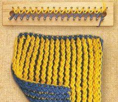 loom knitting diagrams --- instructions in Spanish Loom Knitting Stitches, Spool Knitting, Knifty Knitter, Loom Knitting Projects, Easy Knitting, Loom Love, Loom Crochet, Loom Craft, Loom Weaving