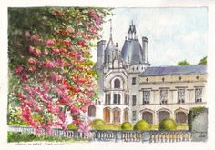 Springtime at Château Brézé south of Saumur in the Loire Valley of France.  Pencil, ink and watercolour painting by Dai Wynn on 300 gsm rough surface texture Arches french cotton paper.  21 cm high by 29 cm wide (8.25 inches X 11.75 inches) approximately - A4. Available for sale at $210.