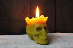 Beeswax Candle skull  king gothic style by MountainHoneyArt