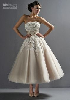 Wholesale Strapless Tea Length Tulle/ Silk Dupioni Beading/ Embroidery Wedding Dress Style 8465 Gifts shawl, Free shipping, $112.0-144.48/Piece | DHgate