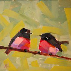 Deux Robins de Cardinal à poitrine rose oiseau par prattcreekart