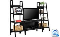 online shopping for Alltra TV Stand + Bookcase Entertainment Console Rack Rear 45 inch 80 lbs TV Shelf from top store. See new offer for Alltra TV Stand + Bookcase Entertainment Console Rack Rear 45 inch 80 lbs TV Shelf Black Entertainment Centers, Entertainment Wall, Entertainment Products, Living Room Furniture, Home Furniture, Living Room Decor, Black Tv Stand, Black Furniture, Ladder Bookcase