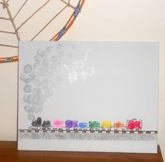 Thumbprint/Fingerprint Freight Train - an art to go along with the book Freight train