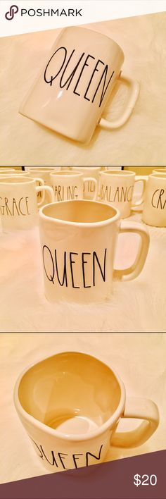 """NEW Rae Dunn """"QUEEN"""" Mug ☕️Description:  Stoneware mugs with a handcrafted feel, each embossed with """"QUEEN"""" by Rae Dunn.  Absolutely New, never used.  Price firm but open to offers.  Will package securely for shipment.  Thanks for stopping by!  • Stoneware • Dishwasher safe Rae Dunn Other"""
