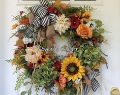 Fall Wreath-Fall Wreath for Front Door-Autumn by ReginasGarden