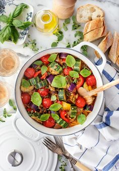 Learn how to make ratatouille! Made with eggplant, tomatoes, zucchini, and more, this recipe for the classic French stew is bright, simple, and delicious.