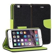 iPhone 6s Plus Case, GMYLE Wallet Case Classic for iPhone 6s Plus - Black & Wasabi Green PU Leather Slim Stand Case Cover. Magnetic closure flap - Protects your device from accidental hard knocks and scratches. Wallet case design - Build in Card Slots and cash compartment. Durable - Not easily fade in color, high quality. Slim design with stand function. Plug your charger, cable or headset without removing the case.