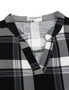 SUNGLORY Leggings Tops For Women, Ladies Summer Notch Neck Casual Plaid Top Blouse XL