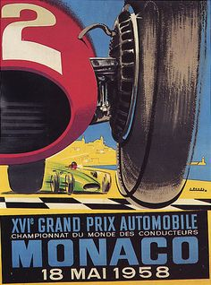 Grand Prix de Monaco 1958 Vintage Poster
