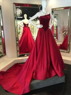 Prom Dresses Elegant, 2020 Gorgeous Red Prom Dresses Strapless A-Line/Princess Sweep Train Satin, Mermaid prom dresses, two piece prom gowns, sequin prom dresses & you name it - our 2020 prom collection has everything you need! Backless Mermaid Prom Dresses, Sequin Prom Dresses, Long Prom Gowns, Red Prom Dresses 2017, Prom Dresses Online, Gowns Online, Simple Evening Gown, Evening Dresses, Country Bridesmaid Dresses