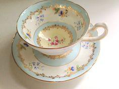 Luxurious Royal Grafton Teacup and Saucer,Tea Set, Antique Tea Cups, English Bone China Teacups, Blue Gold Cup, Vintage Teacups, VogueTeam