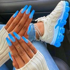 In look for some nail designs and ideas for your nails? Here's our list of must-try coffin acrylic nails for fashionable women. Neon Blue Nails, Blue Acrylic Nails, Acrylic Nail Designs, Summer Nails Neon, Blue Coffin Nails, Blue Nail Designs, Baby Blue Nails With Glitter, Summer Nail Art, Acrylic Summer Nails Coffin