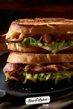Grilled Cheese, Bacon and Guacamole Sandwich Bacon Sandwich Recipes, Bacon Sandwiches, Pork Bacon, Tacos, Guacamole, Delish, Grilling, Favorite Recipes, Dishes