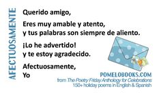 "Spanish version of ""Sincerely"" by Robyn Hood Black for National Write a Letter of Appreciation Day in March from THE POETRY FRIDAY ANTHOLOGY® FOR CELEBRATIONS edited by Sylvia Vardell and Janet Wong (Pomelo Books, 2015)"