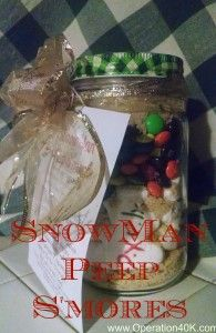 Snowman Peep S'mores with FREE printable cover sheet/ gift tag. #peeps  #s'mores