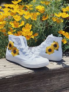 Custom Sunflower Converse, Sunflower Shoes, Summer Shoes, White Converse, Chucks All Converse shoes are authentic and brand new with tags! Each pair is handmade [. Converse Outfits, Converse Chucks, White Converse, White Nike Shoes, Nike Air Shoes, Custom Vans Shoes, Swag Shoes, Painted Shoes, Painted Sneakers