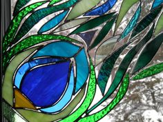 Abstract Stained Glass Peacock Feather by SandhillShores on Etsy, $62.00