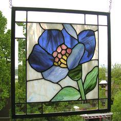 Flor de loto azul13.5 x 135Panel de la por StainedGlassArtist