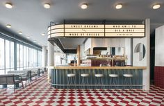 this week we're headed all the way to singapore to a modern diner. meet OverEasy Orchard, an All-Pastel Diner brought to us by hui designs. Hd Diner, 1950 Diner, Retro Diner, Easy Diner, Architecture Restaurant, Restaurant Interior Design, Cafe Interior, Classic American Diner, American Cafe