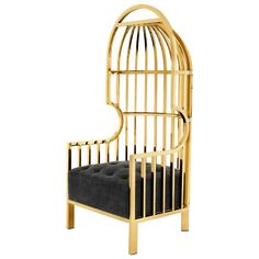 Cage Armchair in Gold Finish and Black Velvet Seat, 2016 1