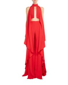 Balmain Mock-Neck Cascading Ruffle Jumpsuit, Red
