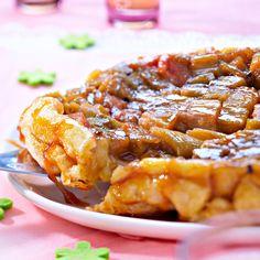 Découvrez la recette tarte tatin à la rhubarbe sur cuisineactuelle.fr.