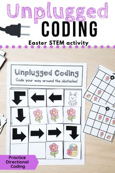 This Easter set has students code the bunny to its basket and avoid the flower obstacles. This no-tech coding activity is perfect for introducing the basics of directional coding to your students. There are no devices needed, just print and go!   Students will learn to code by creating their own paths using arrows, or they can test their skills by solving the task cards. They can then use the recording page to write their program.  #coding #code #stem #kindergarten #notech #directionalcoding