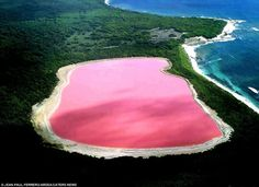 Hiller Lake: Western Australia.  Scientists cannot explain the pink colour although they have proven it is not due to the presence of algae.