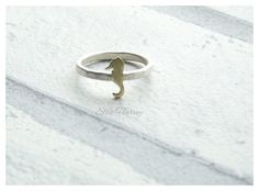 Seahorse Ring, Stacking Ring, Sterling Silver Ring with Brass, Dainty Ring, Skinny Ring with Accent, Nature Jewellery, Ocean Jewelry, Sea, by EllieHarveySilver on Etsy