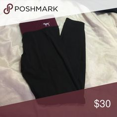 VS Pink Ultimate Yoga Leggings Lightly worn one or two times. Reversible! One side has a maroon waistband and the other has a black waistband. PINK Victoria's Secret Pants Leggings