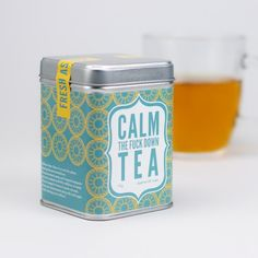 """Never one to mince words, the wonderful folks at Firebox are offering their own """"Calm The F*ck Down Tea"""", a perfect cuppa for a quiet night at home or while experiencing an honest F*ck … Tea Blends, Stressed Out, High Tea, Coffee Cans, The Funny, Drink Sleeves, No Time For Me, More Fun, Tea Time"""