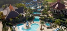 Aerial view of the Disneyland Hotel courtyard pool area.